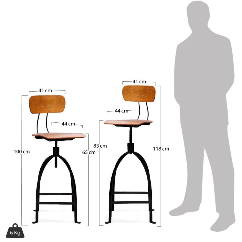 Chaise De Bar Réglable Industriel Métal Jb Pennel By Drawer