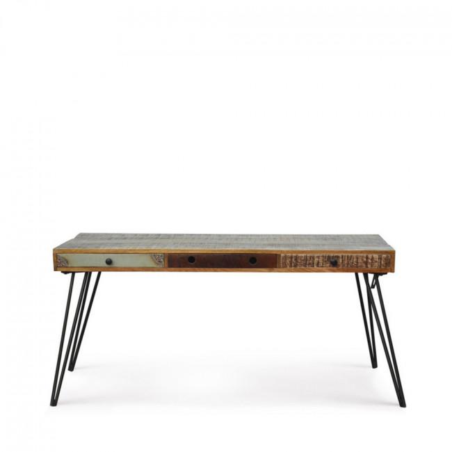Bureau vintage en bois 3 tiroirs Fusion