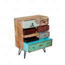 Commode design à tiroirs en patchwork de bois coloré Fusion