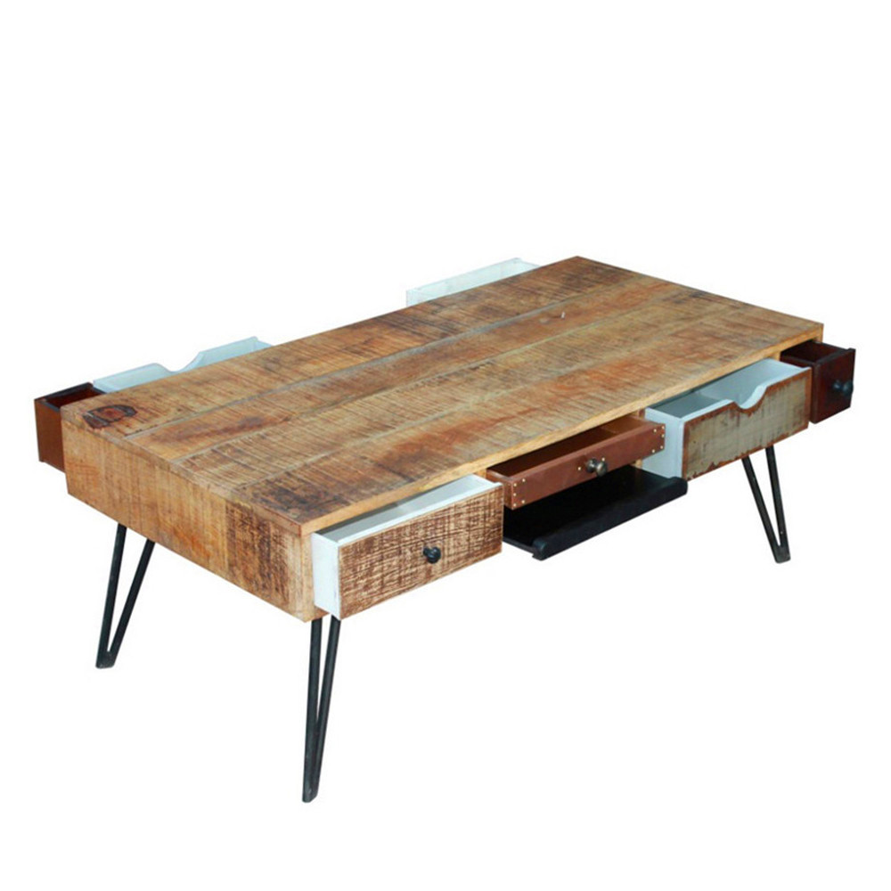 Table basse vintage en bois fusion by drawer - Table basse en bois ...