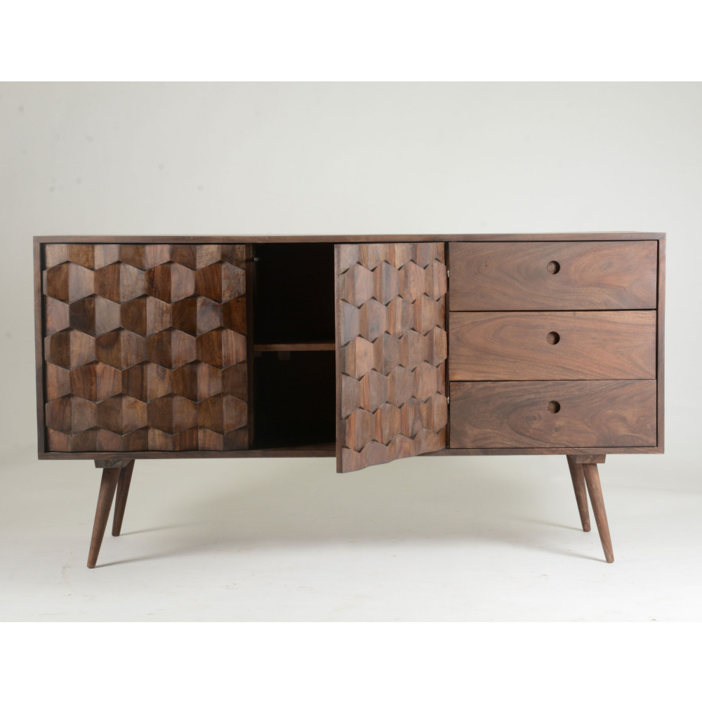 Buffet 2 Portes 3 Tiroirs O2 Drawer # Vaisselier D'Angle Moderne En Palissandre