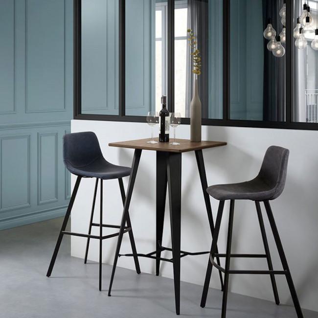 Table de bar acier et bois indoor/outdoor Tores