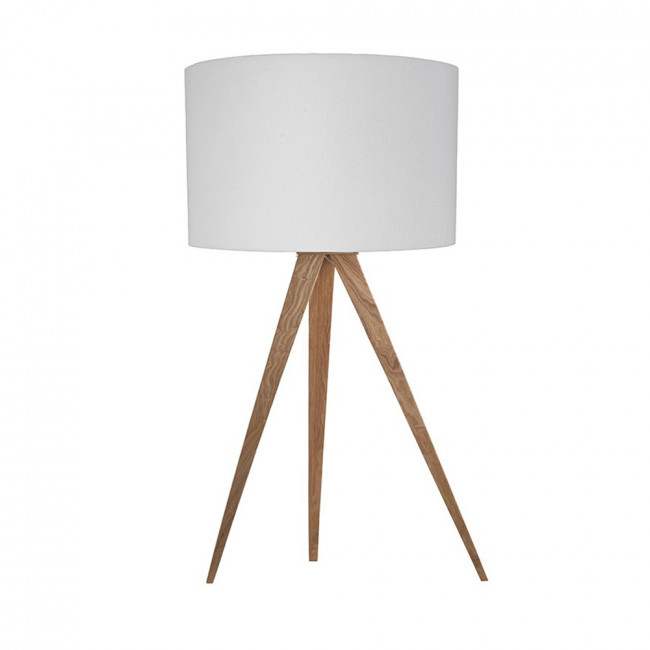 Lampe à poser Tripod Wood Mini blanche