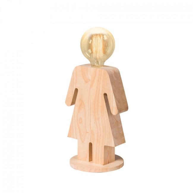 Lampe à poser en bois et ampoule vintage Adam & Eve XL