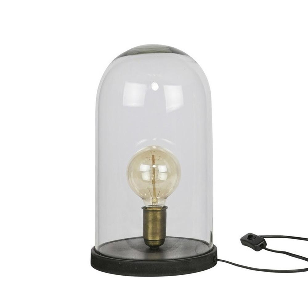 Lampe poser industrielle verre et bois l cover up by drawer - Lampe industrielle a poser ...
