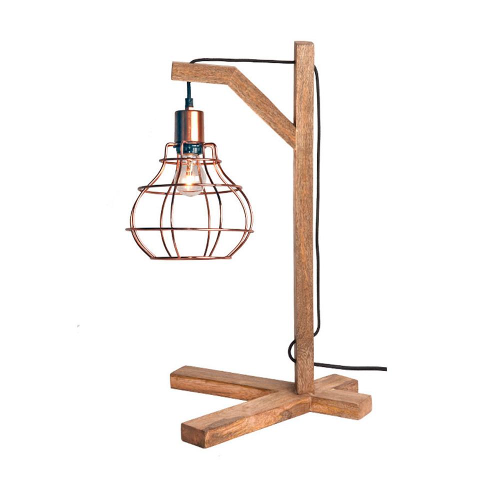 lampe poser bois et cuivre dom label51 drawer. Black Bedroom Furniture Sets. Home Design Ideas