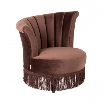 Fauteuil à franges velours Flair Dutchbone Marron