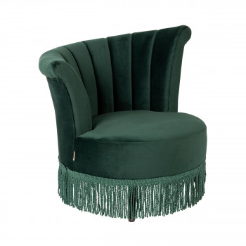 Fauteuil à franges velours Flair Dutchbone Vert