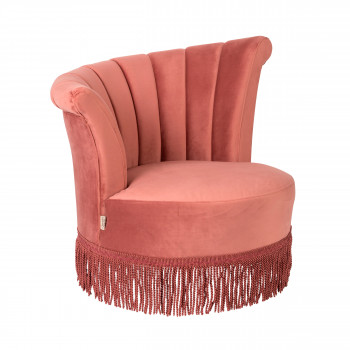 Fauteuil à franges velours Flair Dutchbone Rose