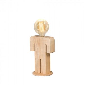 Lampe à poser en bois et ampoule vintage Adam & Eve