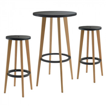 Lot table de bar et 2 tabourets 76cm Harry's