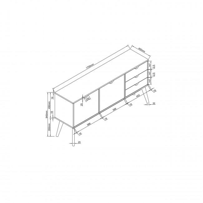 Buffet design 2 portes 3 tiroirs chêne Ström