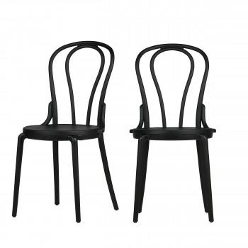 Lot de 2 chaises bistrot en résine Bibi