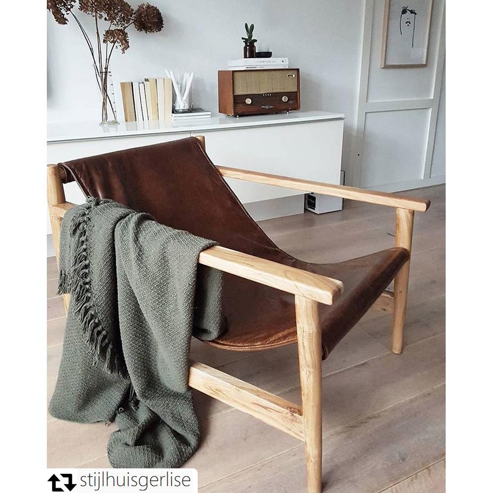 Fauteuil en bois et cuir Sling par Drawer fr # Fauteuil Cuir Bois