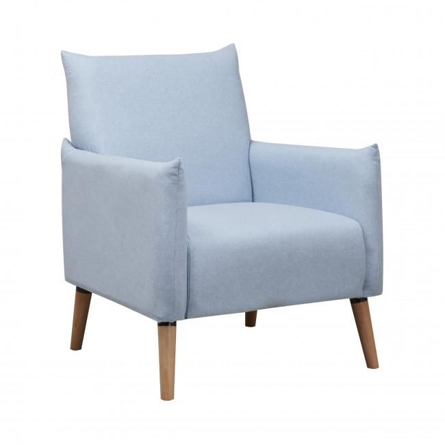 Fauteuil scandinave tissu et pieds bois Julius bleu pastel