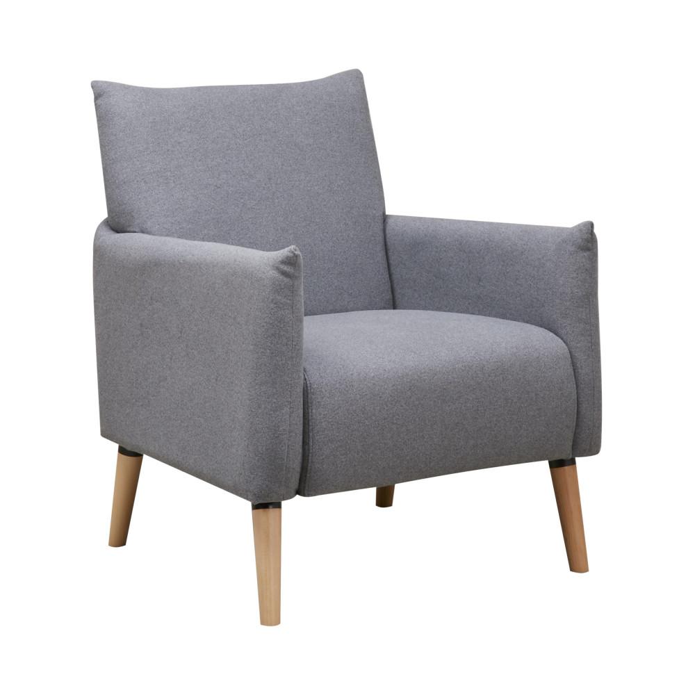 fauteuil r tro tissu et pieds bois julius drawer. Black Bedroom Furniture Sets. Home Design Ideas