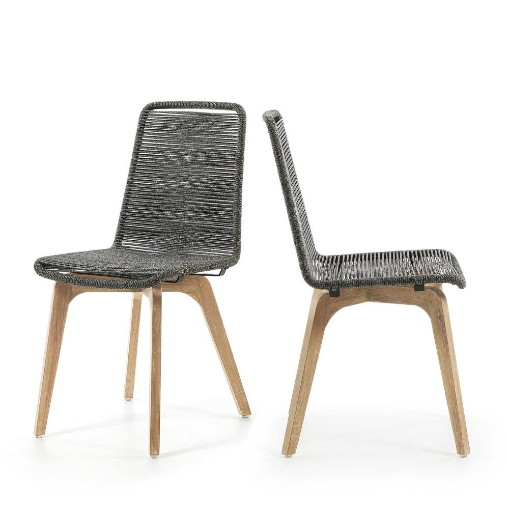 lot de 2 chaises indoor outdoor corde et bois glendon drawer. Black Bedroom Furniture Sets. Home Design Ideas