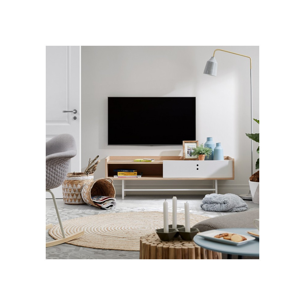 Meuble Tv Scandinave Bois Porte Coulissante Celia By Drawer # Meuble D Angle Tv Scandinave