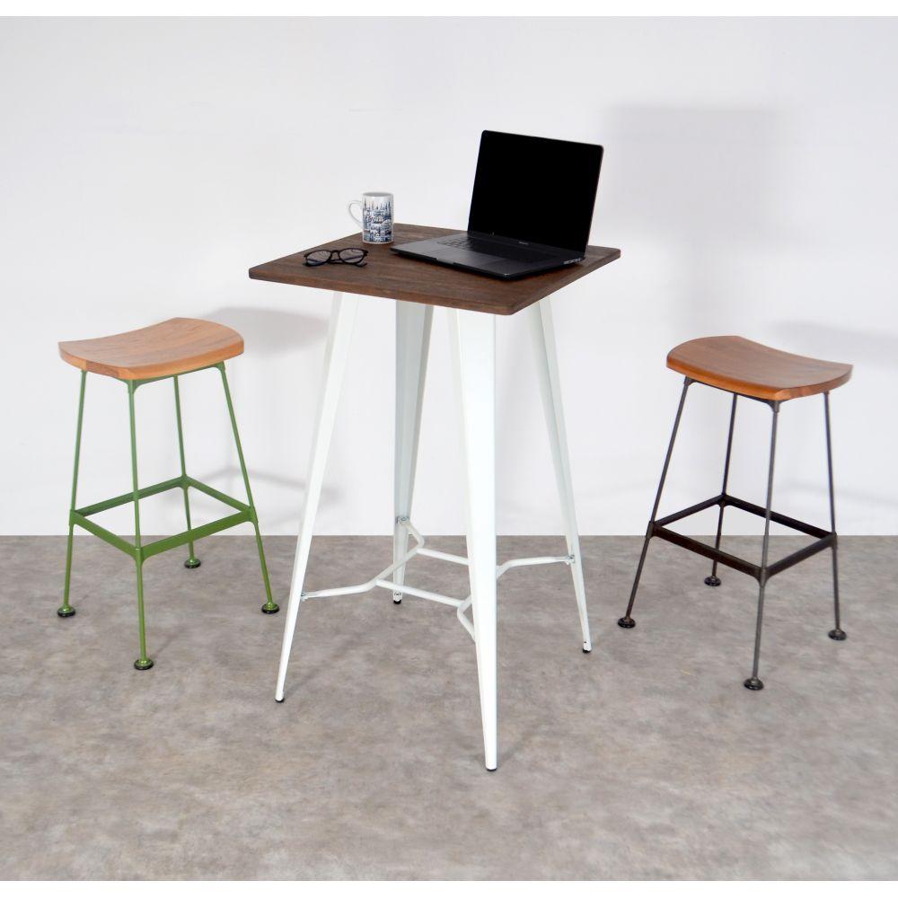 tabouret m tal et bois lounge stork drawer. Black Bedroom Furniture Sets. Home Design Ideas