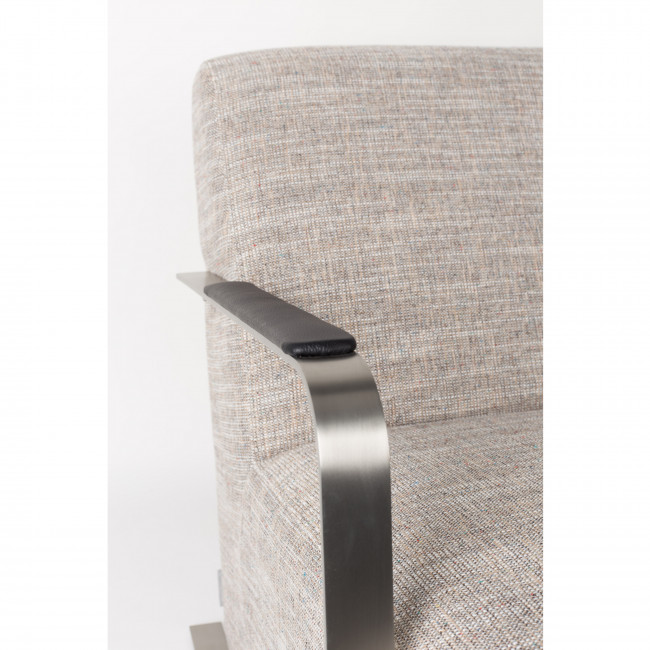 Fauteuil lounge tissu & inox Adwin Zuiver Gris clair