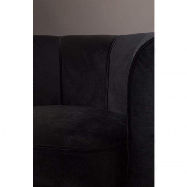 Fauteuil lounge effet velours Flower Dutchbone noir