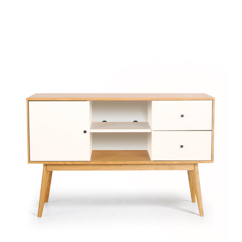Buffet scandinave design laque mat et bois skoll by drawer for Buffet bois et blanc