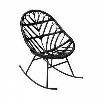 Rocking chair en rotin noir Ette