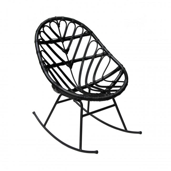 Rocking chair en rotin noir Ette