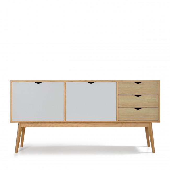 Buffet design 2 portes 3 tiroirs chêne Ström blanc blanc