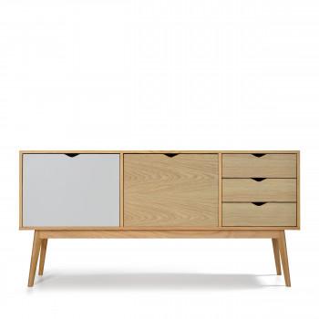 Buffet design 2 portes 3 tiroirs chêne Ström blanc chêne