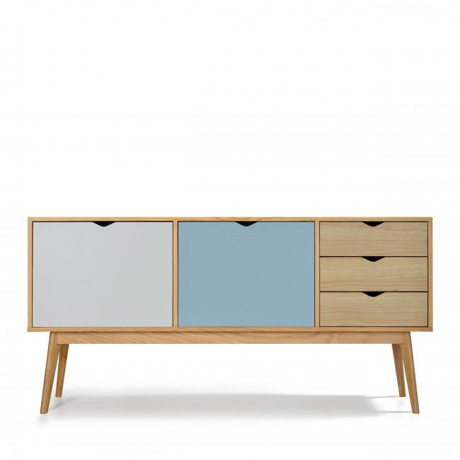 Buffet design 2 portes 3 tiroirs chêne Ström blanc bleu
