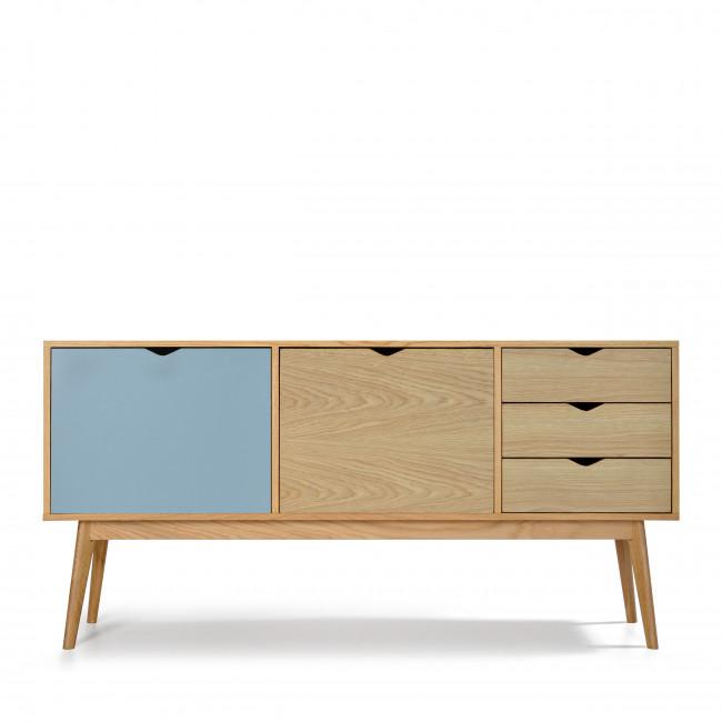 Buffet design 2 portes 3 tiroirs chêne Ström bleu chêne