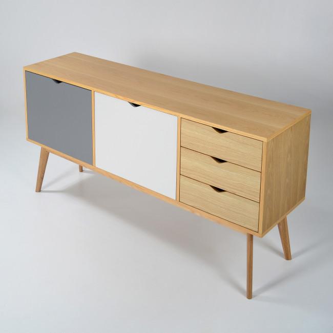 Buffet design 2 portes 3 tiroirs chêne Ström gris blanc