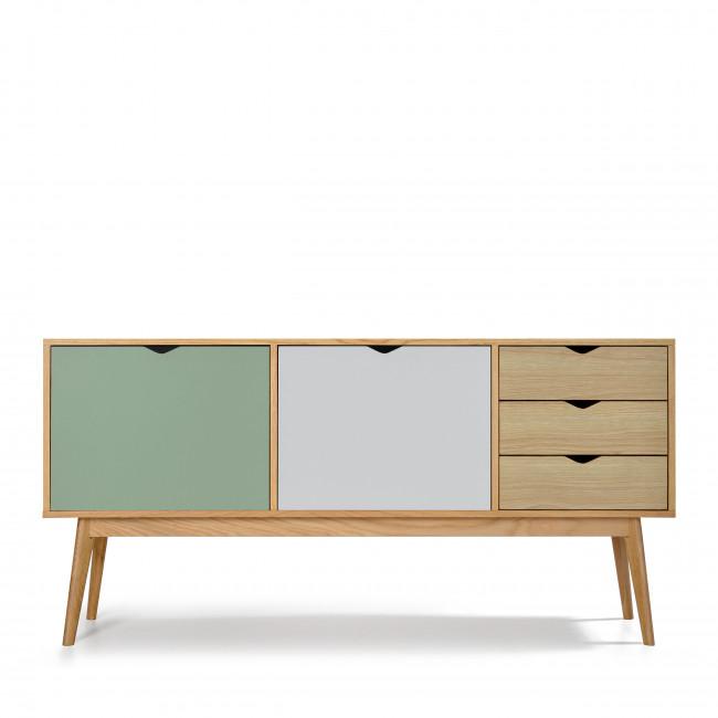 Buffet design 2 portes 3 tiroirs chêne Ström vert blanc