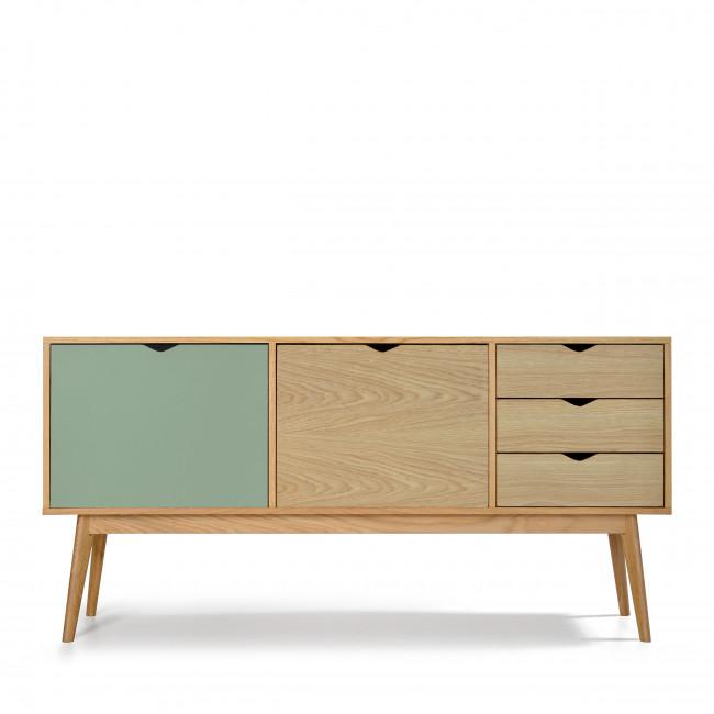 Buffet design 2 portes 3 tiroirs chêne Ström vert chêne