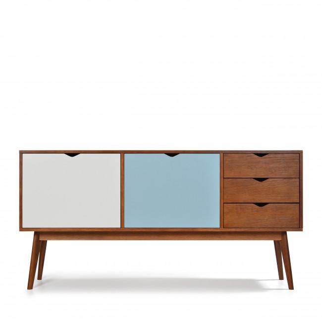 Buffet design 2 portes 3 tiroirs teinté noyer Ström blanc bleu