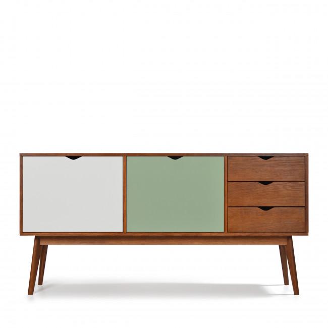 Buffet design 2 portes 3 tiroirs teinté noyer Ström blanc vert