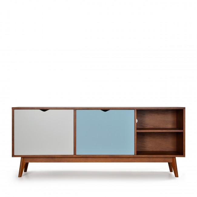 Meuble TV design 2 portes teinté noyer Ström