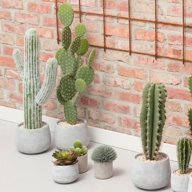 Cactus artificiel en pot ciment 67cm Cactus