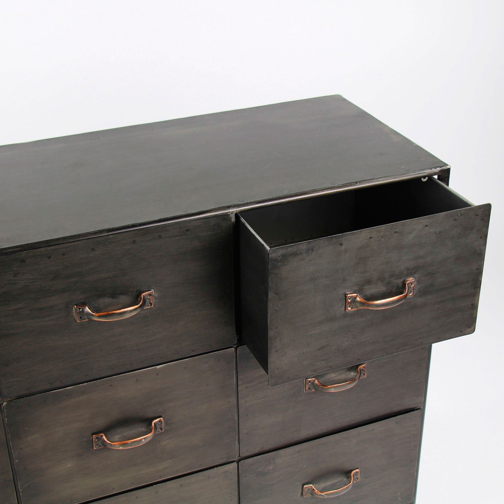 Commode Chambre Style Industriel commode industrielle 9 tiroirs pomax - typographic