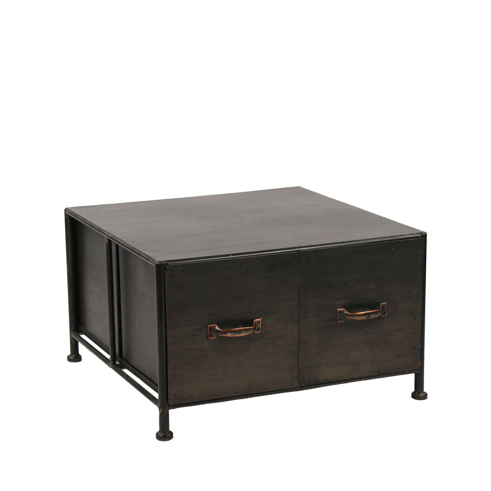 table basse en fer typographic pomax drawer. Black Bedroom Furniture Sets. Home Design Ideas