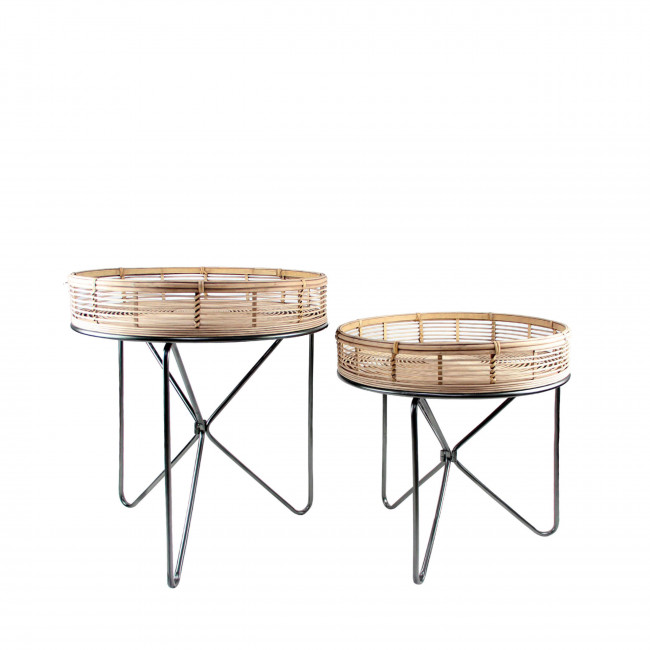 Lot de 2 tables d'appoint rotin Padang RedCartel