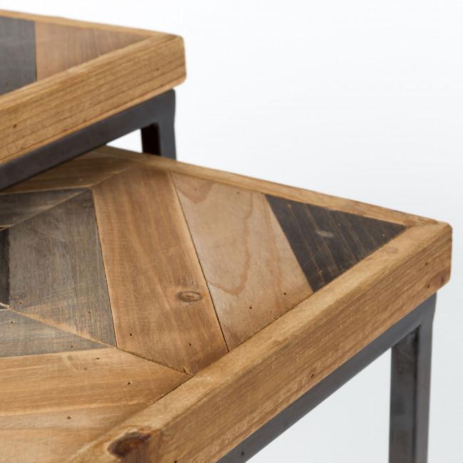 Lot de 2 tables basses gigognes en bois Joy