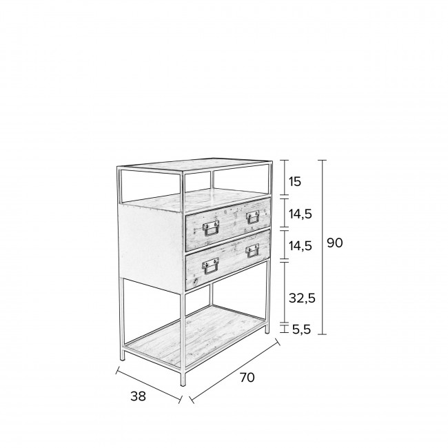 Console design en bois et métal Samuel