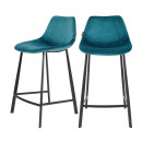 Lot de 2 tabourets de bar en velours 65cm Franky Dutchbone