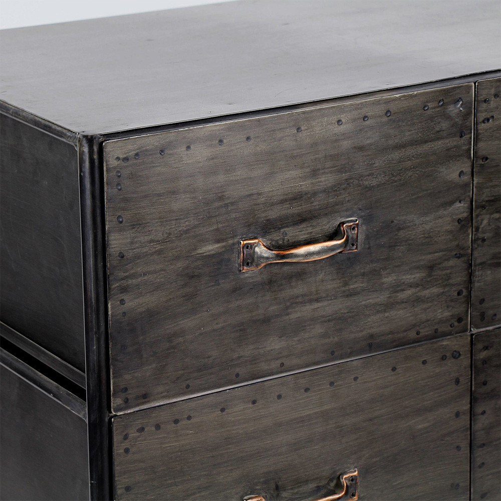 commode industrielle 4 tiroirs typographic pomax drawer. Black Bedroom Furniture Sets. Home Design Ideas