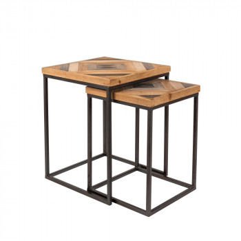Lot de 2 tables basses gigognes en bois Joy