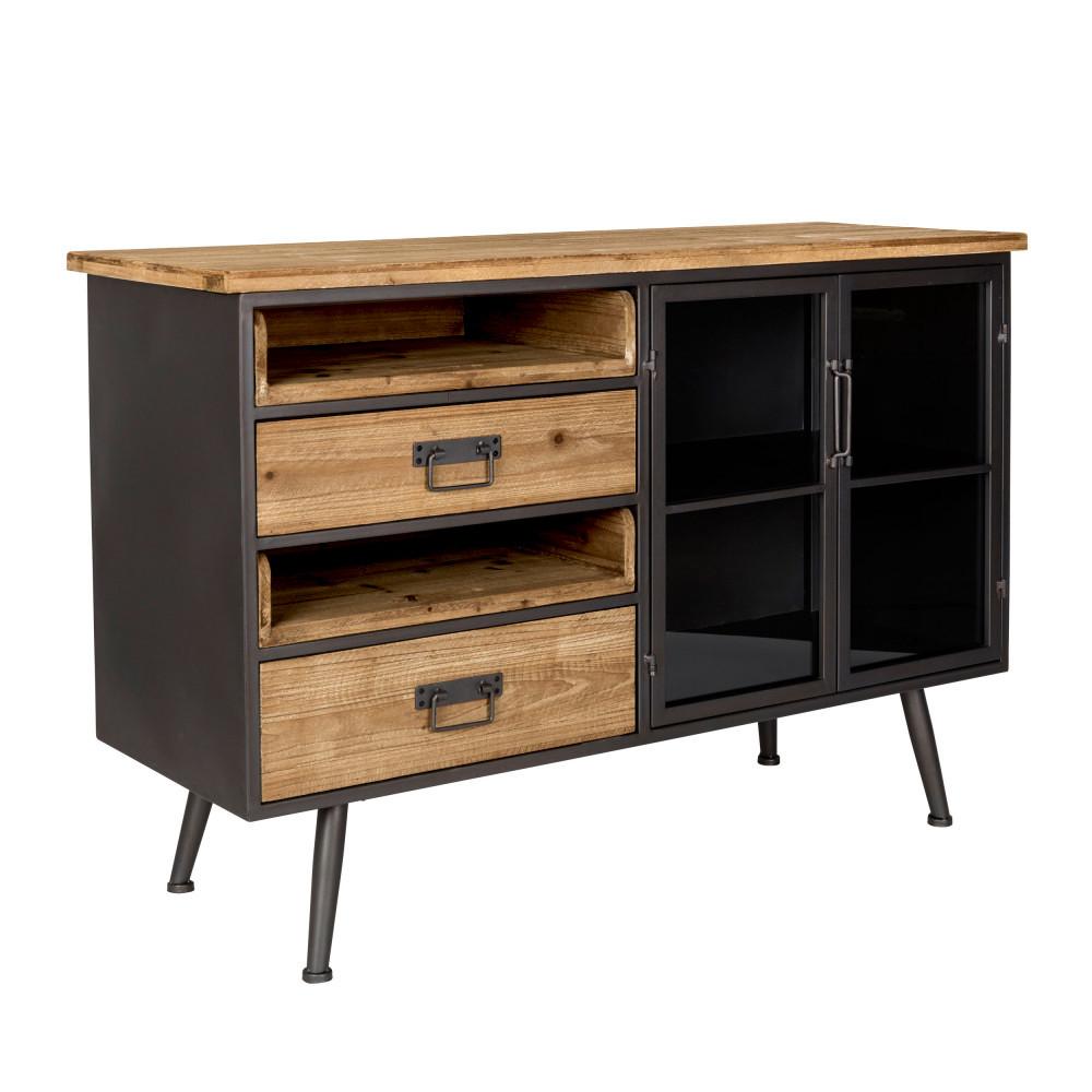 buffet vintage en bois et métal damian - drawer