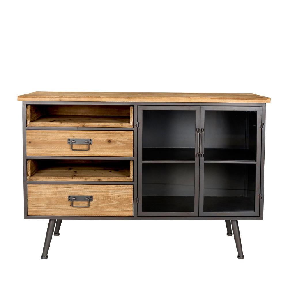 buffet vintage en bois et m tal damian drawer. Black Bedroom Furniture Sets. Home Design Ideas