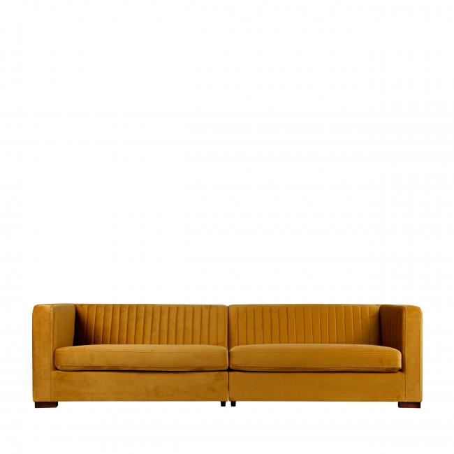 Canapé 4 places en velours XL Nouv jaune moutarde